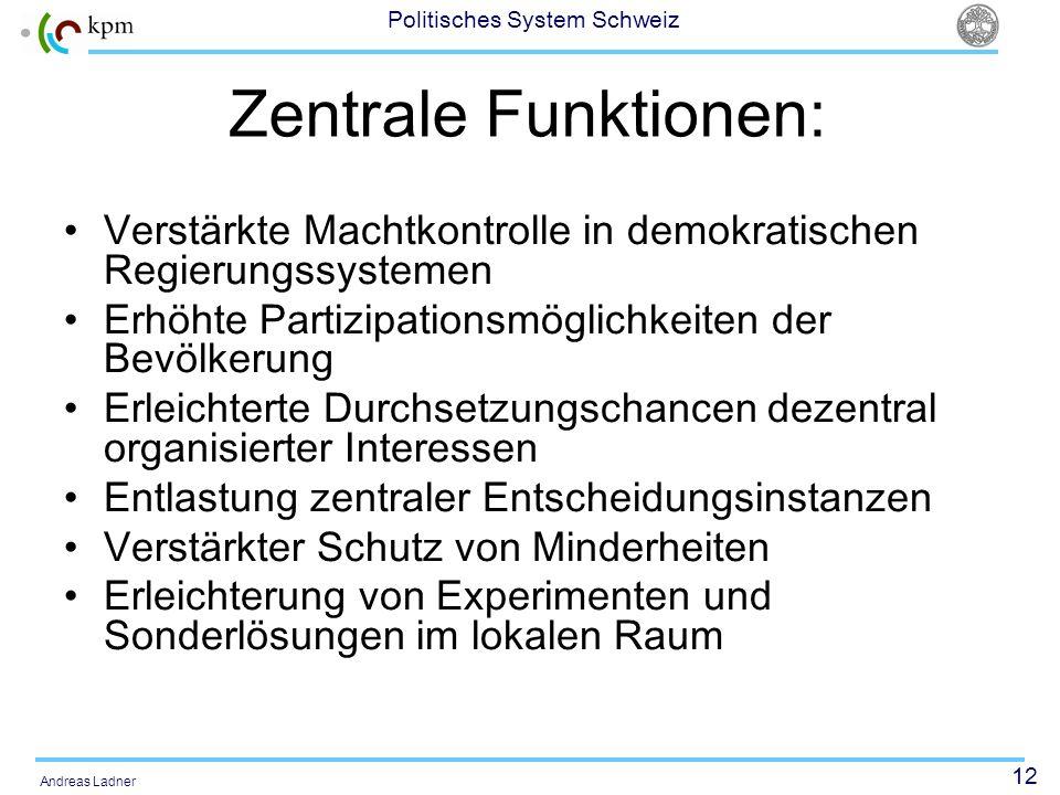 12 Politisches System Schweiz Andreas Ladner Zentrale Funktionen: Verstärkte Machtkontrolle in demokratischen Regierungssystemen Erhöhte Partizipation
