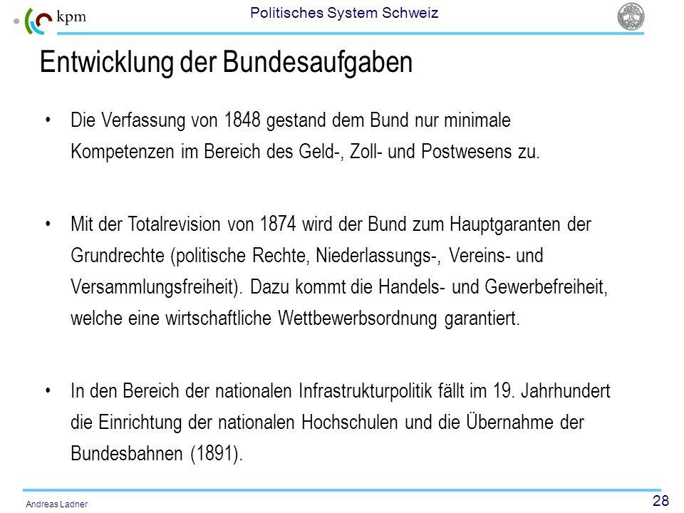 28 Politisches System Schweiz Andreas Ladner Entwicklung der Bundesaufgaben Die Verfassung von 1848 gestand dem Bund nur minimale Kompetenzen im Berei