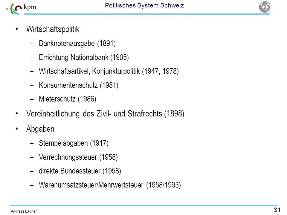31 Politisches System Schweiz Andreas Ladner Wirtschaftspolitik –Banknotenausgabe (1891) –Errichtung Nationalbank (1905) –Wirtschaftsartikel, Konjunkt