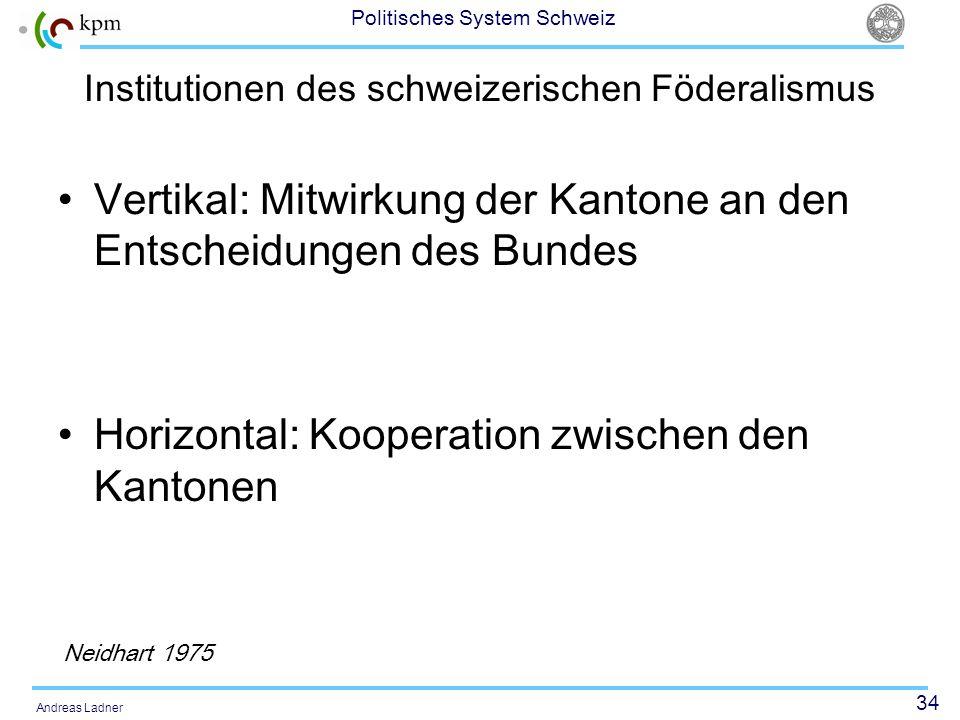 34 Politisches System Schweiz Andreas Ladner Institutionen des schweizerischen Föderalismus Vertikal: Mitwirkung der Kantone an den Entscheidungen des