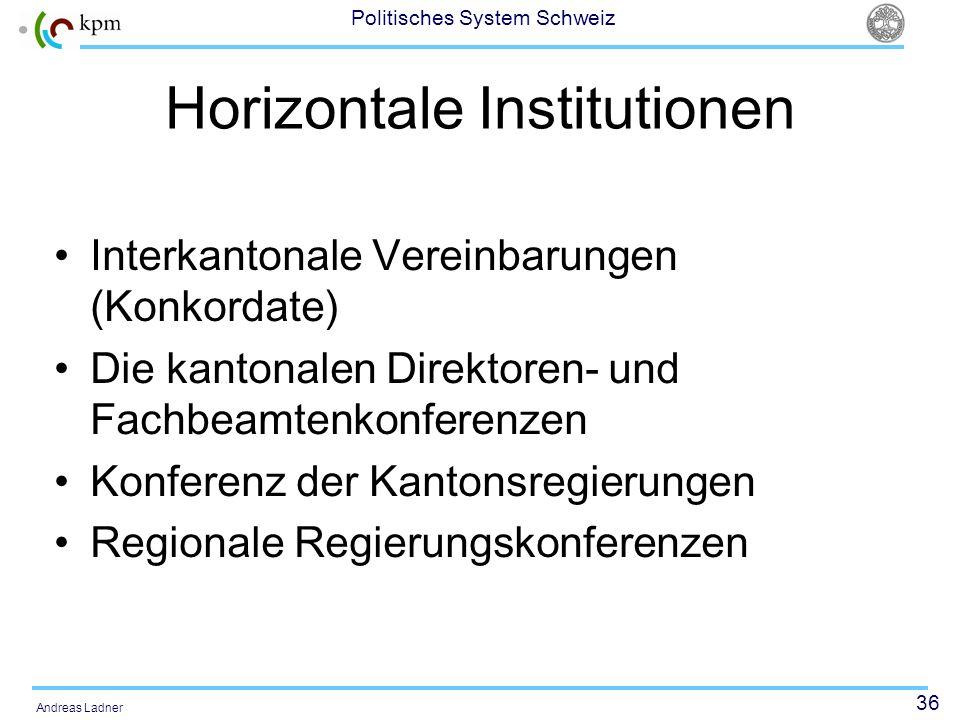 36 Politisches System Schweiz Andreas Ladner Horizontale Institutionen Interkantonale Vereinbarungen (Konkordate) Die kantonalen Direktoren- und Fachb
