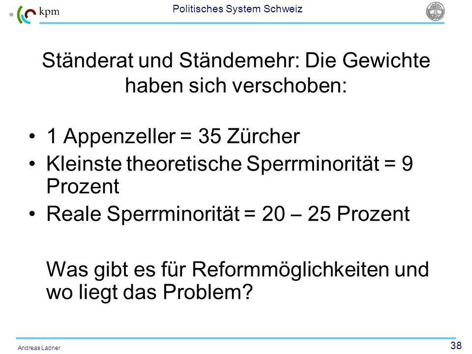 38 Politisches System Schweiz Andreas Ladner Ständerat und Ständemehr: Die Gewichte haben sich verschoben: 1 Appenzeller = 35 Zürcher Kleinste theoret