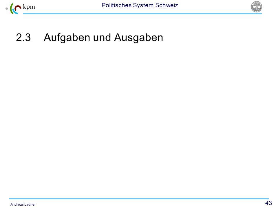 43 Politisches System Schweiz Andreas Ladner 2.3Aufgaben und Ausgaben