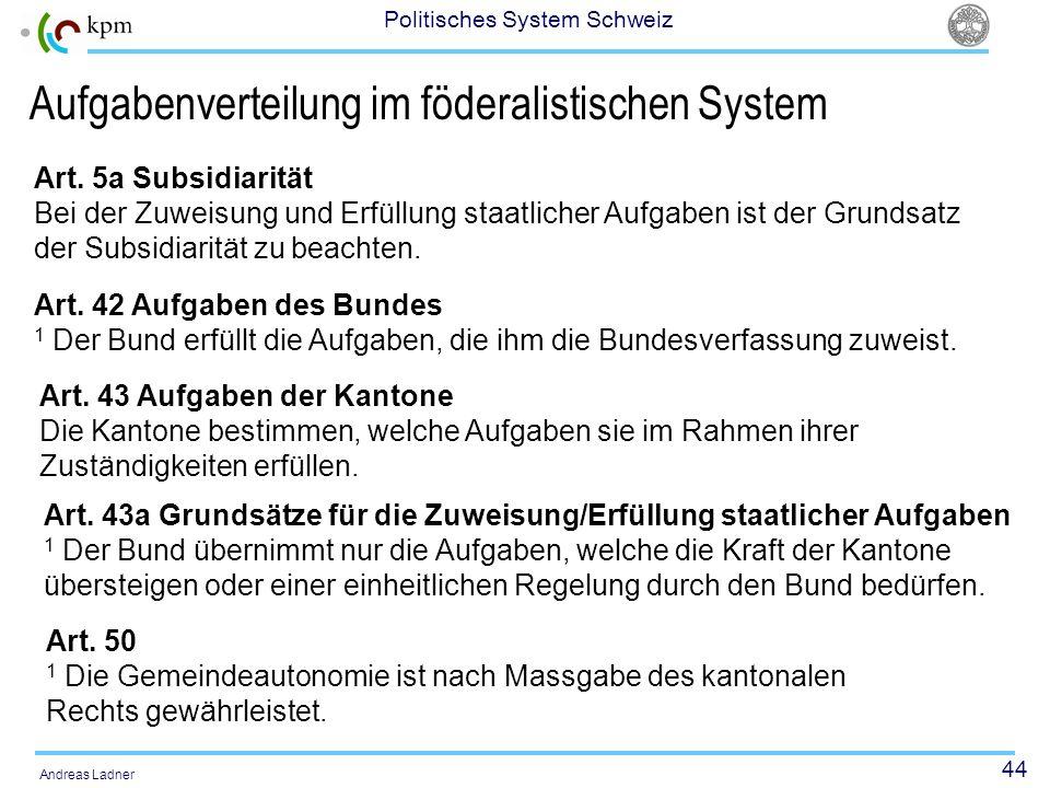 44 Politisches System Schweiz Andreas Ladner Aufgabenverteilung im föderalistischen System Art. 42 Aufgaben des Bundes 1 Der Bund erfüllt die Aufgaben