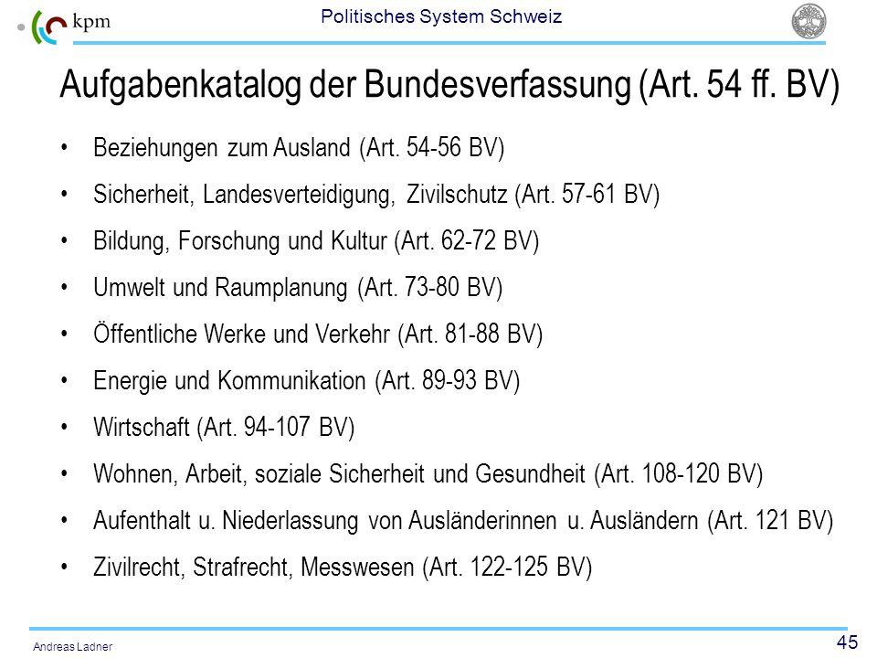 45 Politisches System Schweiz Andreas Ladner Aufgabenkatalog der Bundesverfassung (Art. 54 ff. BV) Beziehungen zum Ausland (Art. 54-56 BV) Sicherheit,