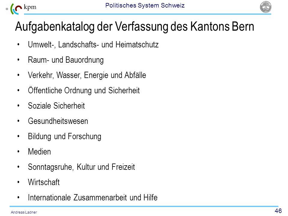 46 Politisches System Schweiz Andreas Ladner Aufgabenkatalog der Verfassung des Kantons Bern Umwelt-, Landschafts- und Heimatschutz Raum- und Bauordnu