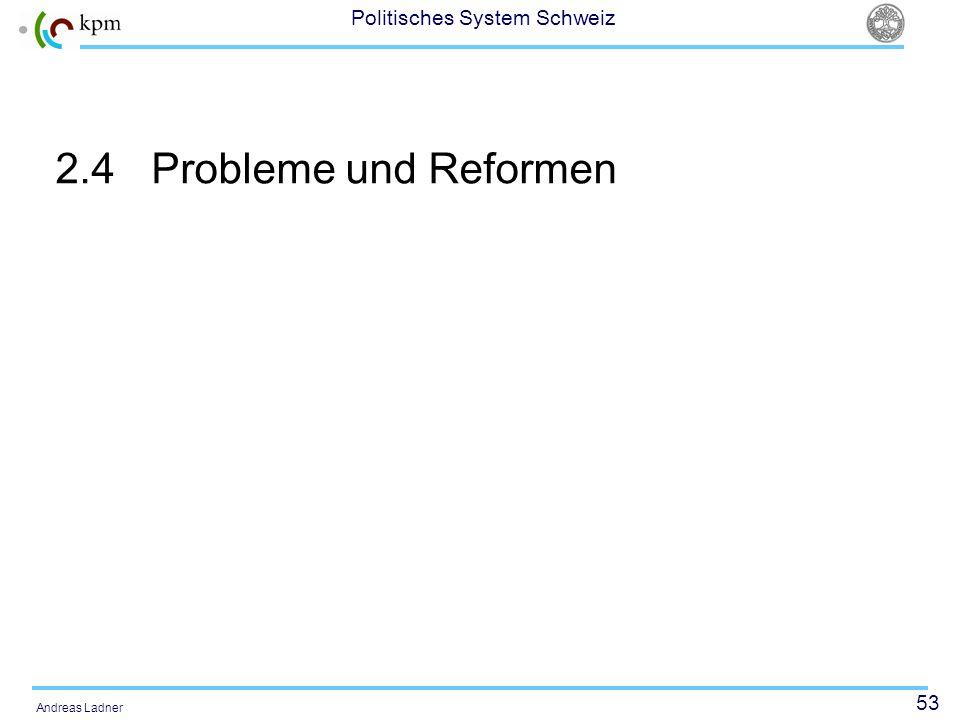 53 Politisches System Schweiz Andreas Ladner 2.4Probleme und Reformen