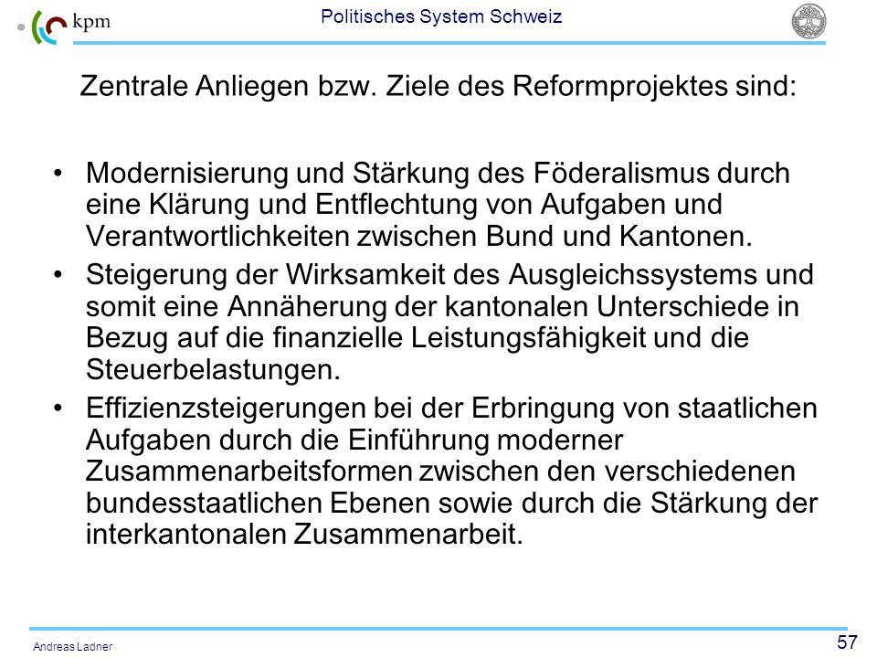57 Politisches System Schweiz Andreas Ladner Zentrale Anliegen bzw. Ziele des Reformprojektes sind: Modernisierung und Stärkung des Föderalismus durch