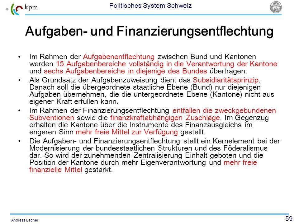 59 Politisches System Schweiz Andreas Ladner Aufgaben- und Finanzierungsentflechtung Im Rahmen der Aufgabenentflechtung zwischen Bund und Kantonen wer
