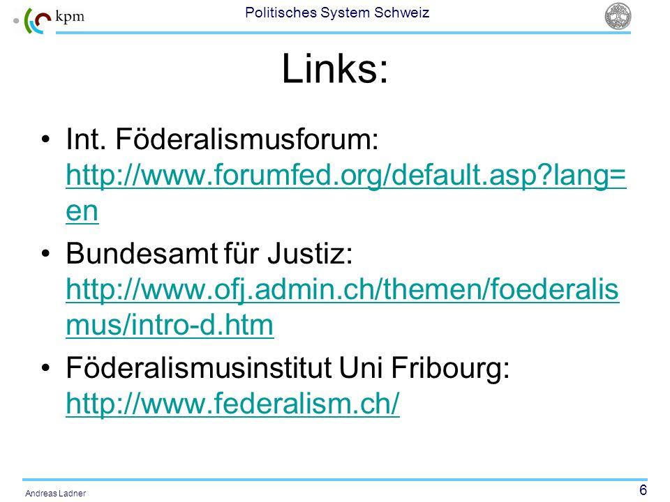 6 Politisches System Schweiz Andreas Ladner Links: Int. Föderalismusforum: http://www.forumfed.org/default.asp?lang= en http://www.forumfed.org/defaul
