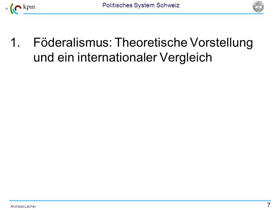 7 Politisches System Schweiz Andreas Ladner 1.Föderalismus: Theoretische Vorstellung und ein internationaler Vergleich