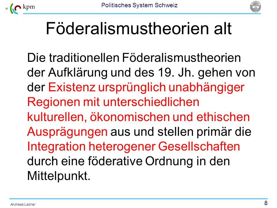 8 Politisches System Schweiz Andreas Ladner Föderalismustheorien alt Die traditionellen Föderalismustheorien der Aufklärung und des 19. Jh. gehen von