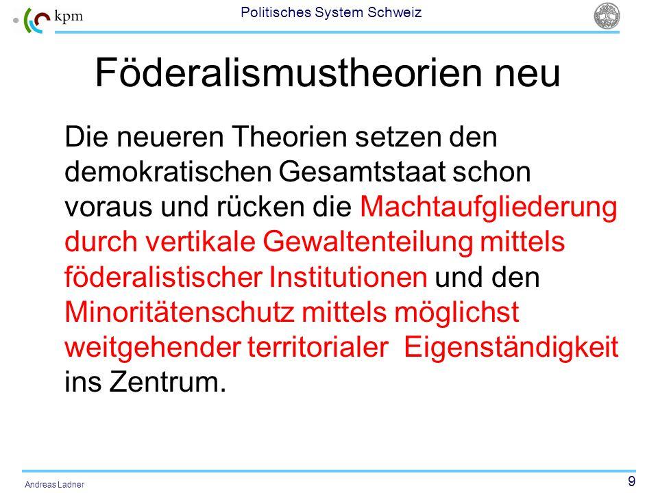 9 Politisches System Schweiz Andreas Ladner Föderalismustheorien neu Die neueren Theorien setzen den demokratischen Gesamtstaat schon voraus und rücke