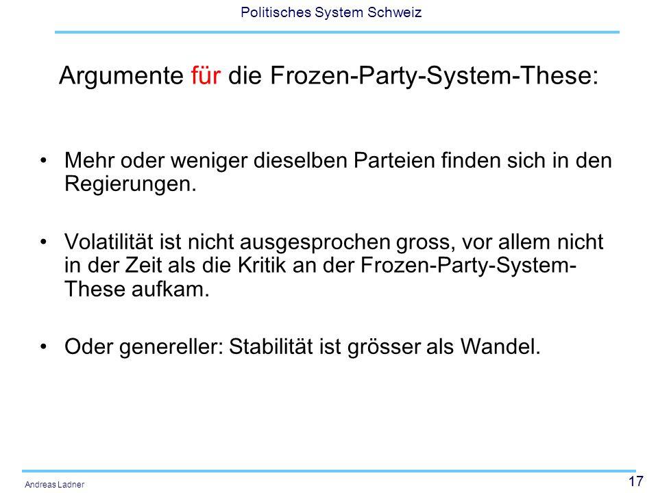 17 Politisches System Schweiz Andreas Ladner Argumente für die Frozen-Party-System-These: Mehr oder weniger dieselben Parteien finden sich in den Regierungen.