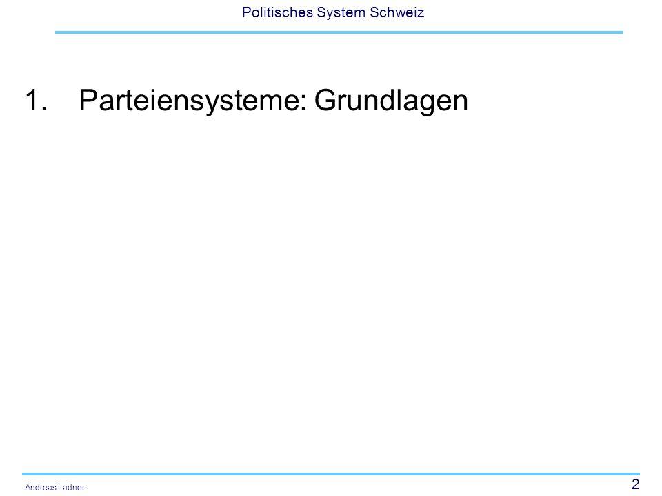 13 Politisches System Schweiz Andreas Ladner Lane/Erssons (1994: 176) ein Mindestset von Eigenheiten von Parteiensystemen 1.Wahlbeteiligung 2.Stärke der grössten Partei 3.Zahl der im Parlament vertretenen Parteien 4.Zahl der Parteien gemäss Rose/Mackie 5.Fraktionalisierungsindex (Rae) 6.Effektive Zahl der Parteien (Laakso/Taagepera 1979) 7.Aggregation index (share of the largest party divided by the number of parties 8.Left-Right score 9.Polarization index (Taylor/Herman 1971; Sigelman/Yough 1978) 10.