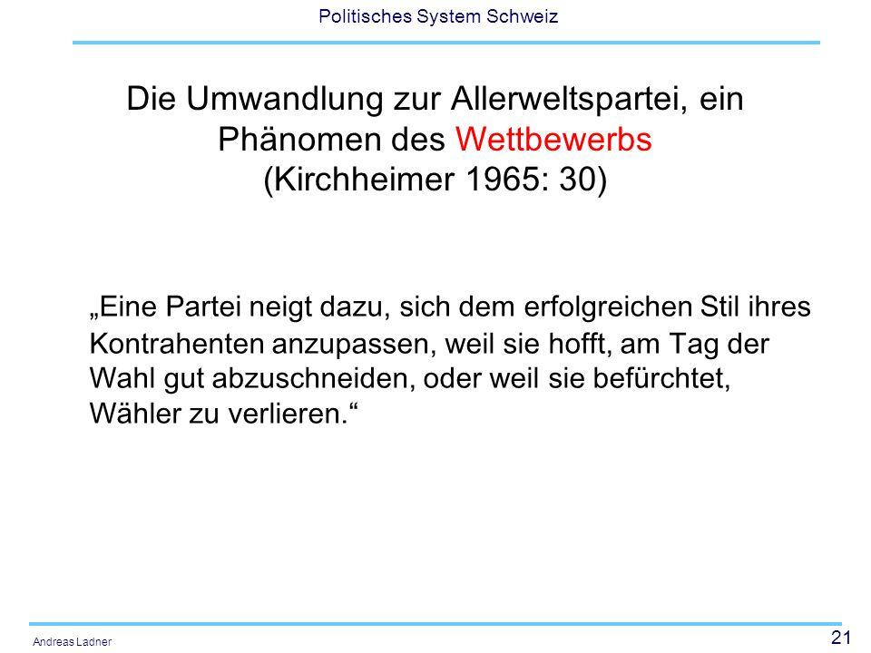 21 Politisches System Schweiz Andreas Ladner Die Umwandlung zur Allerweltspartei, ein Phänomen des Wettbewerbs (Kirchheimer 1965: 30) Eine Partei neigt dazu, sich dem erfolgreichen Stil ihres Kontrahenten anzupassen, weil sie hofft, am Tag der Wahl gut abzuschneiden, oder weil sie befürchtet, Wähler zu verlieren.