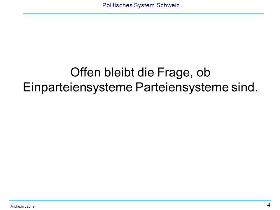 5 Politisches System Schweiz Andreas Ladner Herausbildung der Parteiensysteme Institutionelle Theorien Historische Krisensituationstheorien Modernisierungstheorien