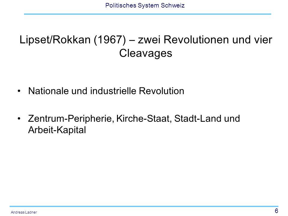 6 Politisches System Schweiz Andreas Ladner Lipset/Rokkan (1967) – zwei Revolutionen und vier Cleavages Nationale und industrielle Revolution Zentrum-Peripherie, Kirche-Staat, Stadt-Land und Arbeit-Kapital