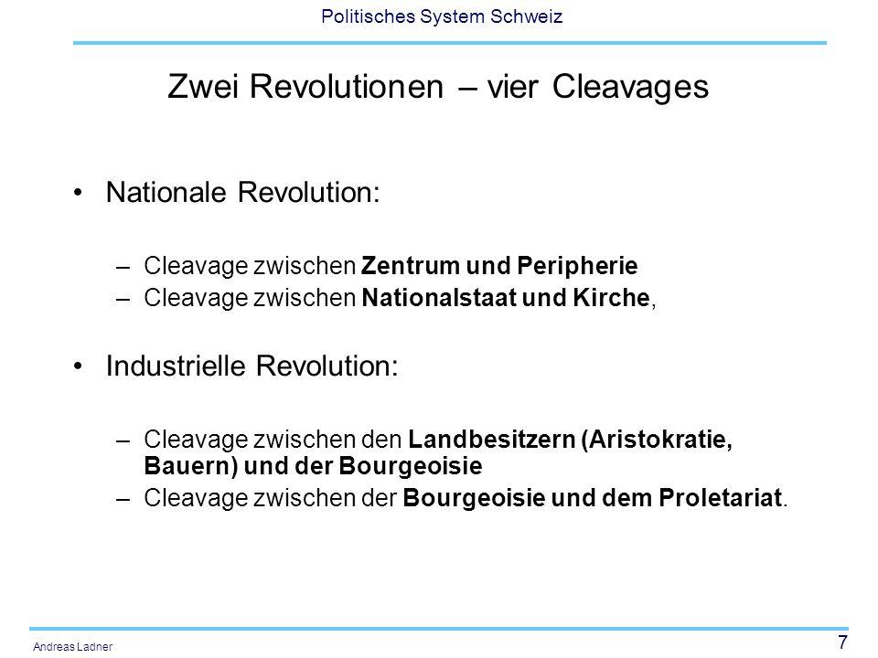 8 Politisches System Schweiz Andreas Ladner Die zehn Konflikte von Beyme (2000: 70) 1.Liberalismus gegen das alte Regime und 2.