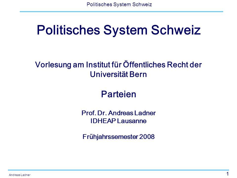12 Politisches System Schweiz Andreas Ladner Funktionen von Parteien Unterschiedliche Bezugsrahmen für Bestimmung der Funktionen: Integrationsparadigma: Politisches System Konkurrenzparadigma: Parteiensystem Transmissionsparadigma: Gesellschaftliches Umfeld