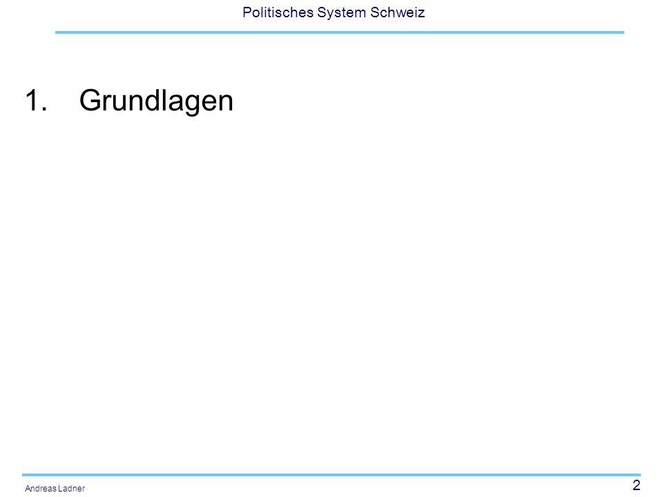 13 Politisches System Schweiz Andreas Ladner Funktionen aus integrations-paradigmatischer Perspektive: Alternativenreduktion (Komplexitäts-reduktion), Mobilisierung von Unterstützung fürs politische System, Prellbock- oder Pufferfunktionen, Integration, Legitimation und Innovation im Dienste der Stabilität