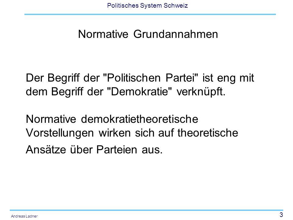 24 Politisches System Schweiz Andreas Ladner Parteiorganisationen: Merkmale Gliederung (Zahl der kantonalen und lokalen Sektionen) Mitgliederzahl Finanzielle Ressourcen Professionalisierung (Zahl der Stellen) Ideologische Verortung (Links-Rechts-Skala)