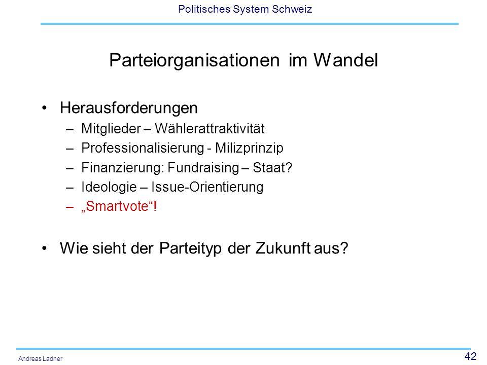 42 Politisches System Schweiz Andreas Ladner Parteiorganisationen im Wandel Herausforderungen –Mitglieder – Wählerattraktivität –Professionalisierung - Milizprinzip –Finanzierung: Fundraising – Staat.