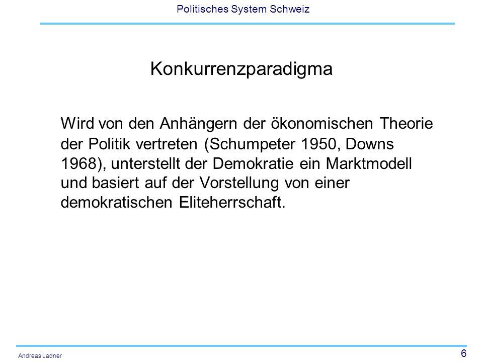 6 Politisches System Schweiz Andreas Ladner Konkurrenzparadigma Wird von den Anhängern der ökonomischen Theorie der Politik vertreten (Schumpeter 1950, Downs 1968), unterstellt der Demokratie ein Marktmodell und basiert auf der Vorstellung von einer demokratischen Eliteherrschaft.