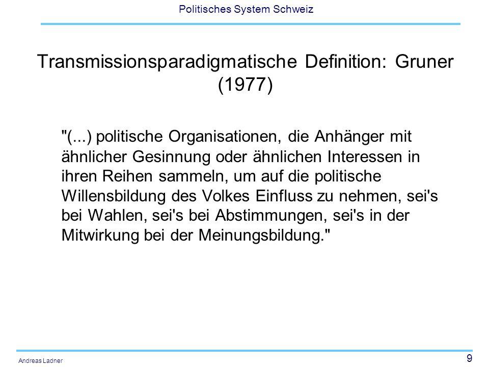 9 Politisches System Schweiz Andreas Ladner Transmissionsparadigmatische Definition: Gruner (1977) (...) politische Organisationen, die Anhänger mit ähnlicher Gesinnung oder ähnlichen Interessen in ihren Reihen sammeln, um auf die politische Willensbildung des Volkes Einfluss zu nehmen, sei s bei Wahlen, sei s bei Abstimmungen, sei s in der Mitwirkung bei der Meinungsbildung.