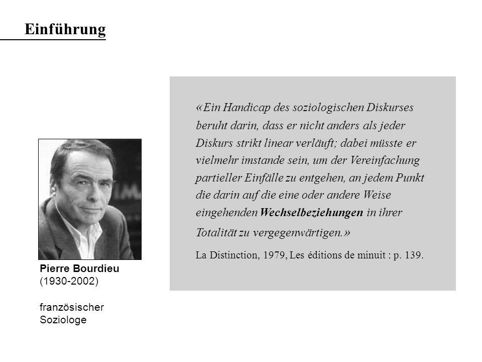 Pierre Bourdieu (1930-2002) französischer Soziologe « Ein Handicap des soziologischen Diskurses beruht darin, dass er nicht anders als jeder Diskurs strikt linear verläuft; dabei müsste er vielmehr imstande sein, um der Vereinfachung partieller Einfälle zu entgehen, an jedem Punkt die darin auf die eine oder andere Weise eingehenden Wechselbeziehungen in ihrer Totalität zu vergegenwärtigen.
