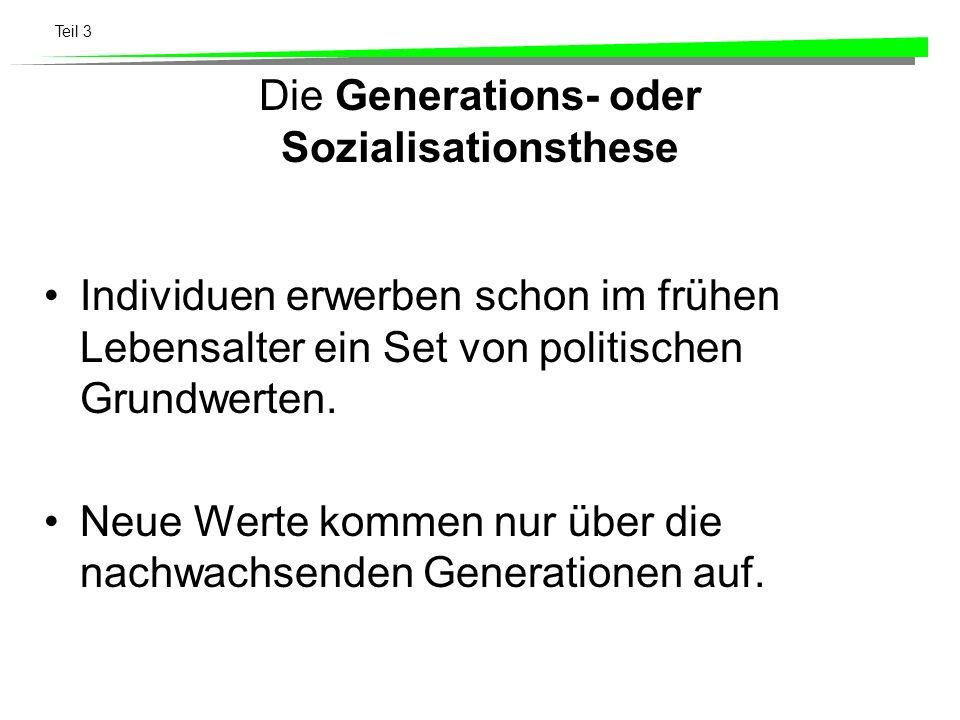 Teil 3 Die Lebenszyklusthese Personen verändern ihre Wertorientierungen in unterschiedlichen Phasen ihres Lebenszyklus verändern (Kommunist, Sozialist, Anarchist).