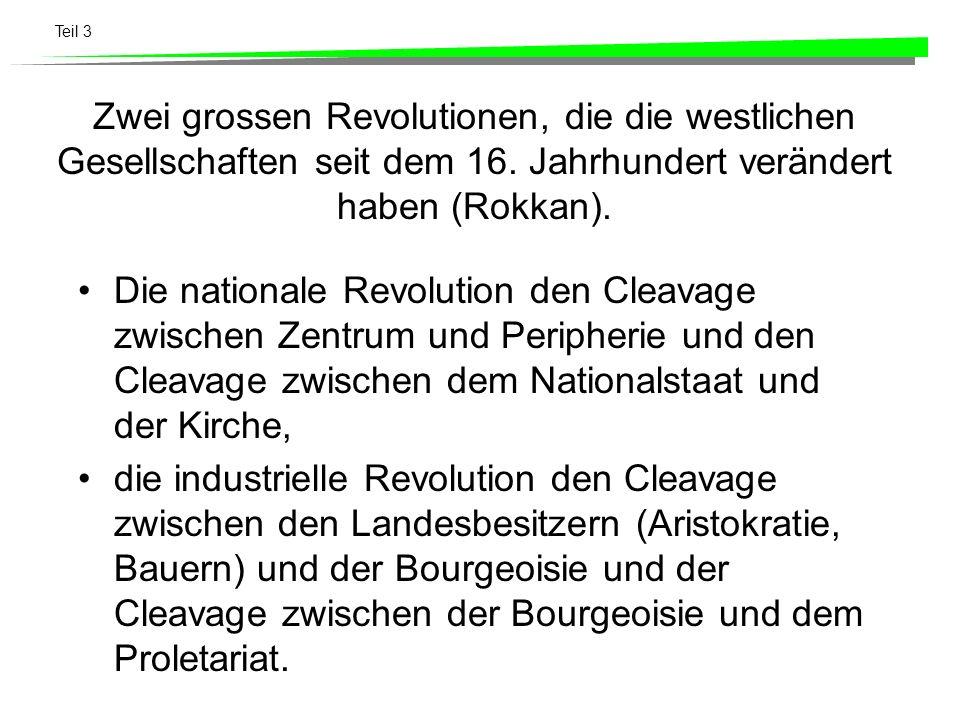 Teil 3 Zwei grossen Revolutionen, die die westlichen Gesellschaften seit dem 16. Jahrhundert verändert haben (Rokkan). Die nationale Revolution den Cl