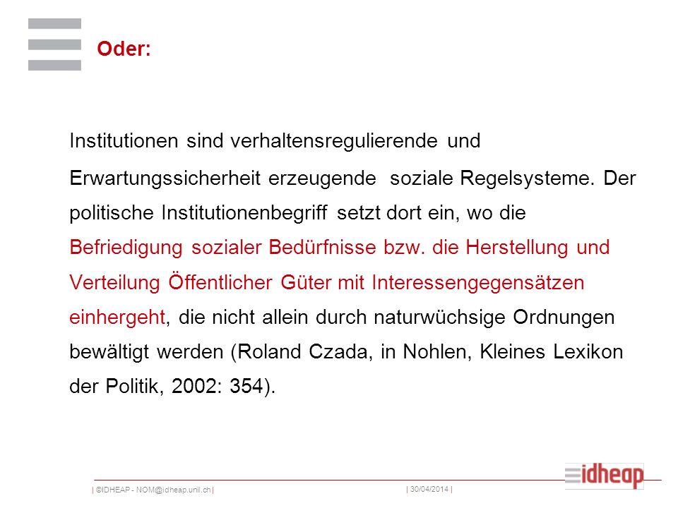 | ©IDHEAP - NOM@idheap.unil.ch | | 30/04/2014 | Oder: Institutionen sind verhaltensregulierende und Erwartungssicherheit erzeugende soziale Regelsyste