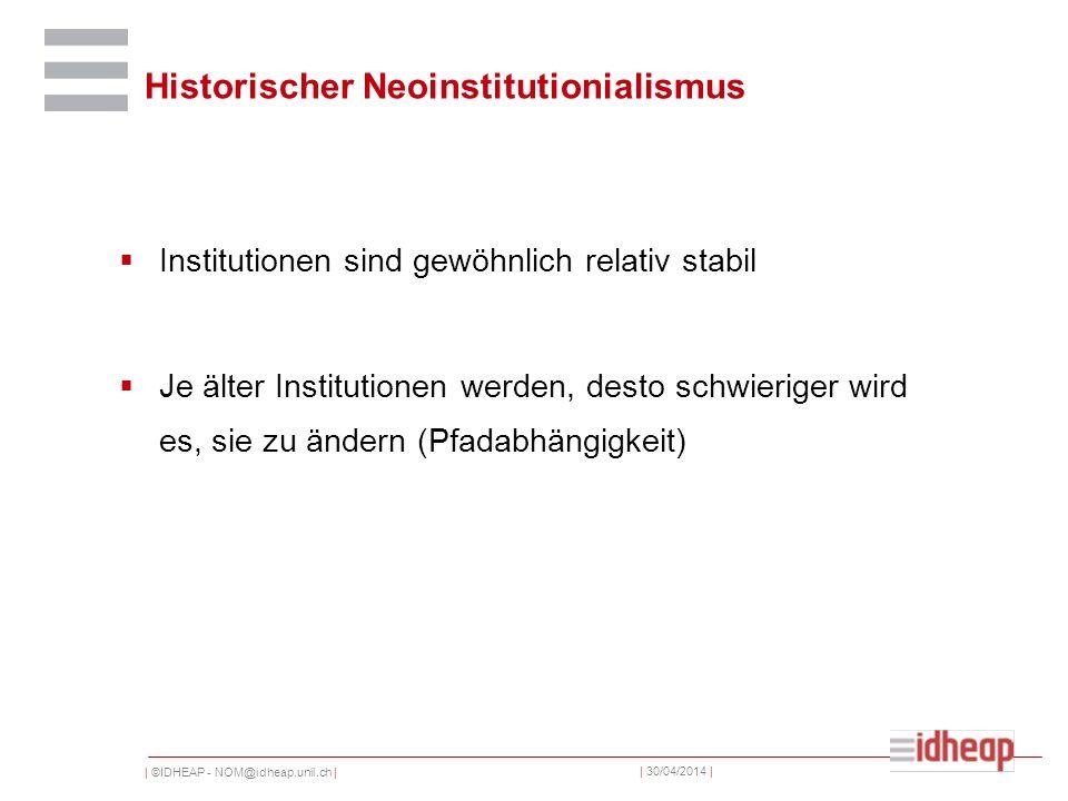 | ©IDHEAP - NOM@idheap.unil.ch | | 30/04/2014 | Historischer Neoinstitutionialismus Institutionen sind gewöhnlich relativ stabil Je älter Institutione