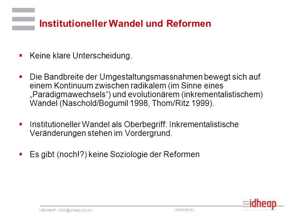 | ©IDHEAP - NOM@idheap.unil.ch | | 30/04/2014 | Institutioneller Wandel und Reformen Keine klare Unterscheidung. Die Bandbreite der Umgestaltungsmassn
