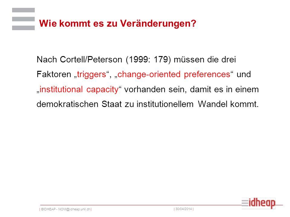 | ©IDHEAP - NOM@idheap.unil.ch | | 30/04/2014 | Nach Cortell/Peterson (1999: 179) müssen die drei Faktoren triggers, change-oriented preferences undin
