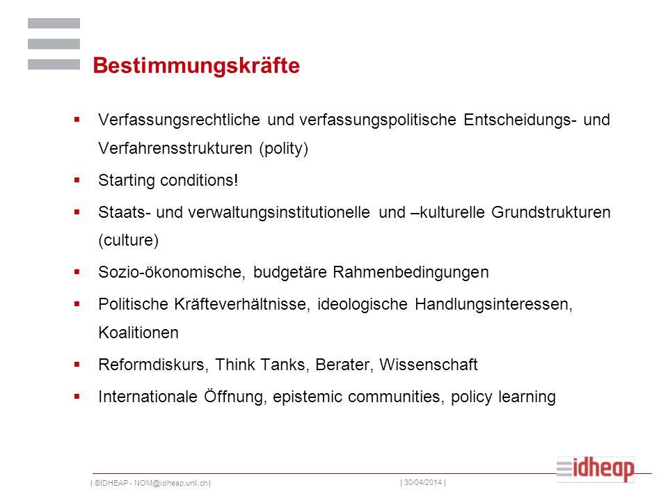 | ©IDHEAP - NOM@idheap.unil.ch | | 30/04/2014 | Bestimmungskräfte Verfassungsrechtliche und verfassungspolitische Entscheidungs- und Verfahrensstruktu
