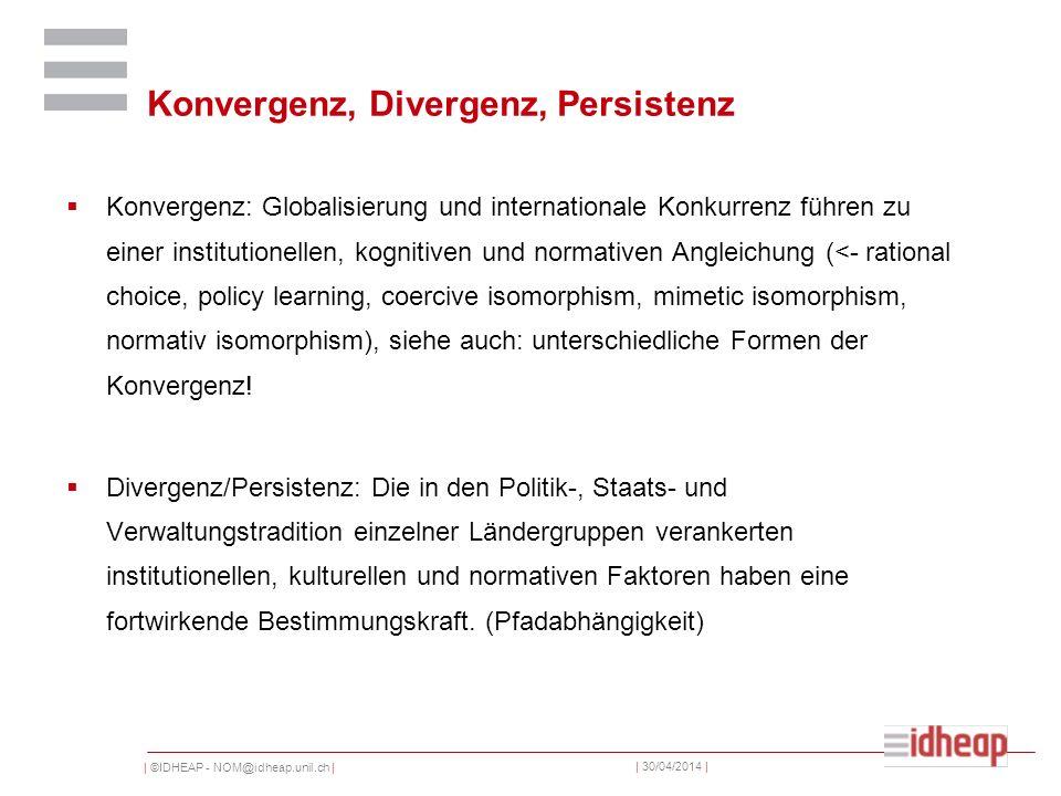 | ©IDHEAP - NOM@idheap.unil.ch | | 30/04/2014 | Konvergenz, Divergenz, Persistenz Konvergenz: Globalisierung und internationale Konkurrenz führen zu e