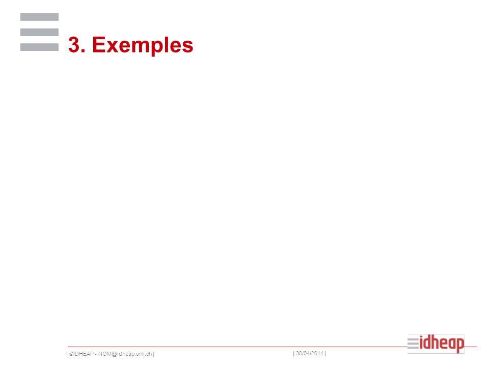 | ©IDHEAP - NOM@idheap.unil.ch | | 30/04/2014 | 3. Exemples