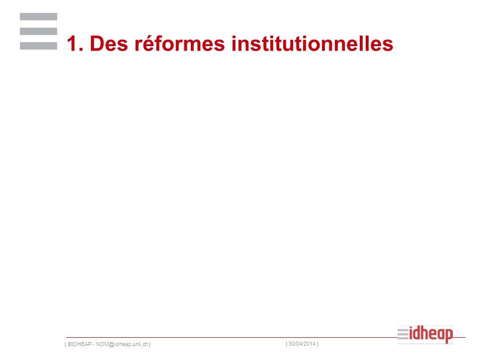   ©IDHEAP - NOM@idheap.unil.ch     30/04/2014   Historischer Neoinstitutionialismus Institutionen sind gewöhnlich relativ stabil Je älter Institutionen werden, desto schwieriger wird es, sie zu ändern (Pfadabhängigkeit)