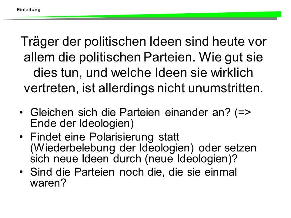 Träger der politischen Ideen sind heute vor allem die politischen Parteien.