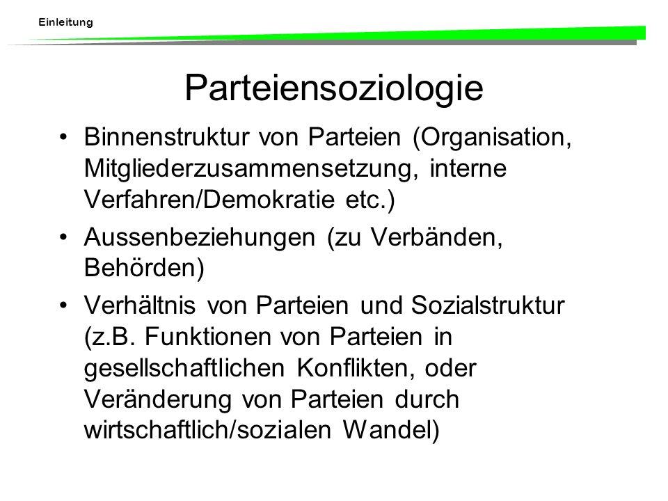 Einleitung Parteiensoziologie Binnenstruktur von Parteien (Organisation, Mitgliederzusammensetzung, interne Verfahren/Demokratie etc.) Aussenbeziehungen (zu Verbänden, Behörden) Verhältnis von Parteien und Sozialstruktur (z.B.