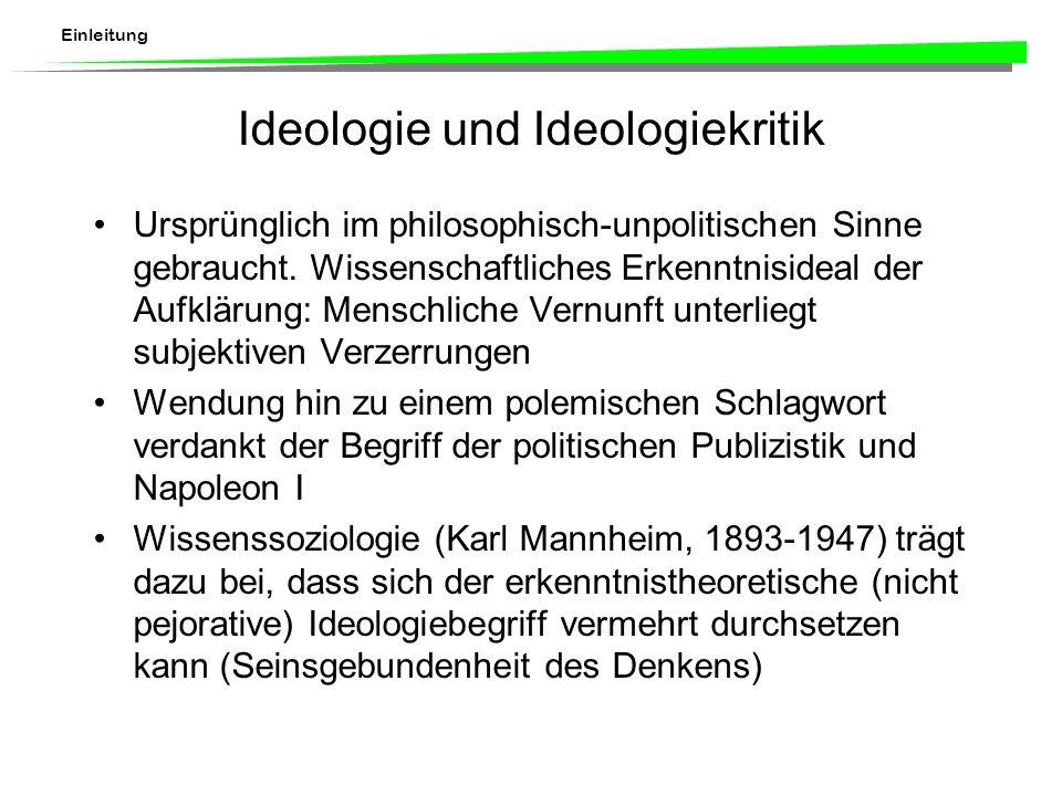 Einleitung Ideologie und Ideologiekritik Ursprünglich im philosophisch-unpolitischen Sinne gebraucht.