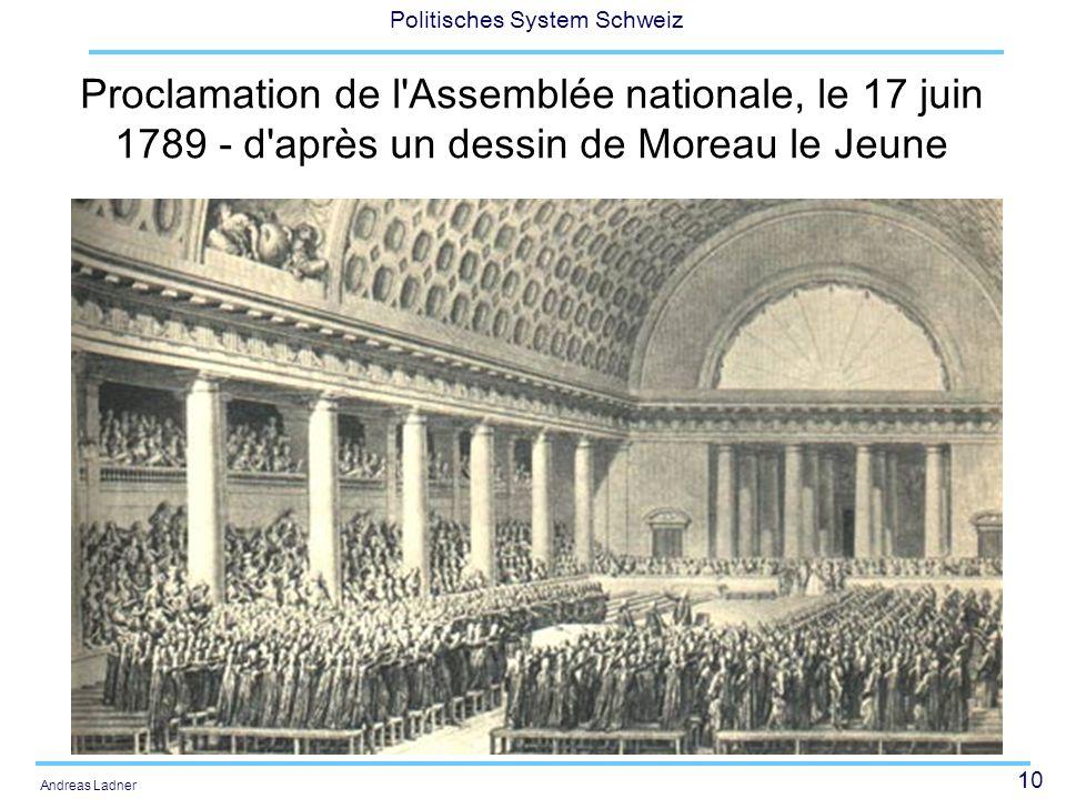 10 Politisches System Schweiz Andreas Ladner Proclamation de l'Assemblée nationale, le 17 juin 1789 - d'après un dessin de Moreau le Jeune