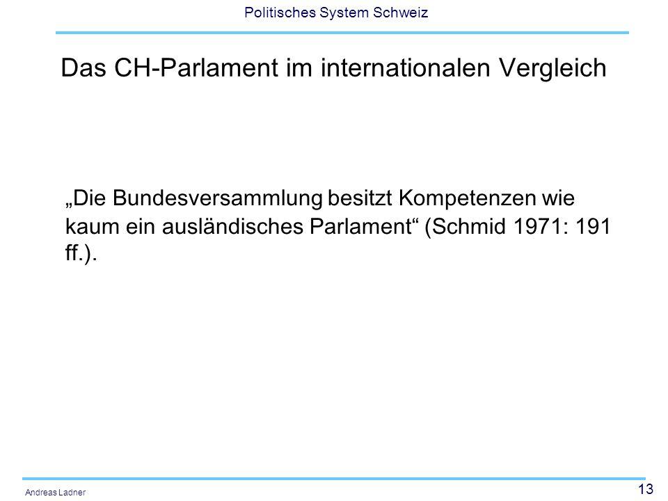 13 Politisches System Schweiz Andreas Ladner Das CH-Parlament im internationalen Vergleich Die Bundesversammlung besitzt Kompetenzen wie kaum ein ausl