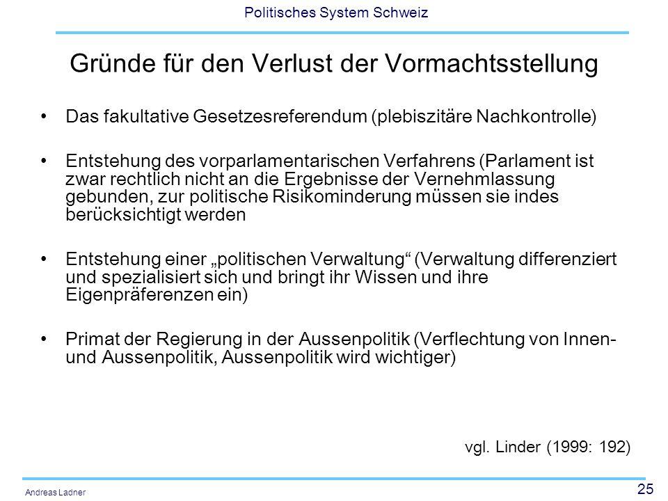 25 Politisches System Schweiz Andreas Ladner Gründe für den Verlust der Vormachtsstellung Das fakultative Gesetzesreferendum (plebiszitäre Nachkontrol