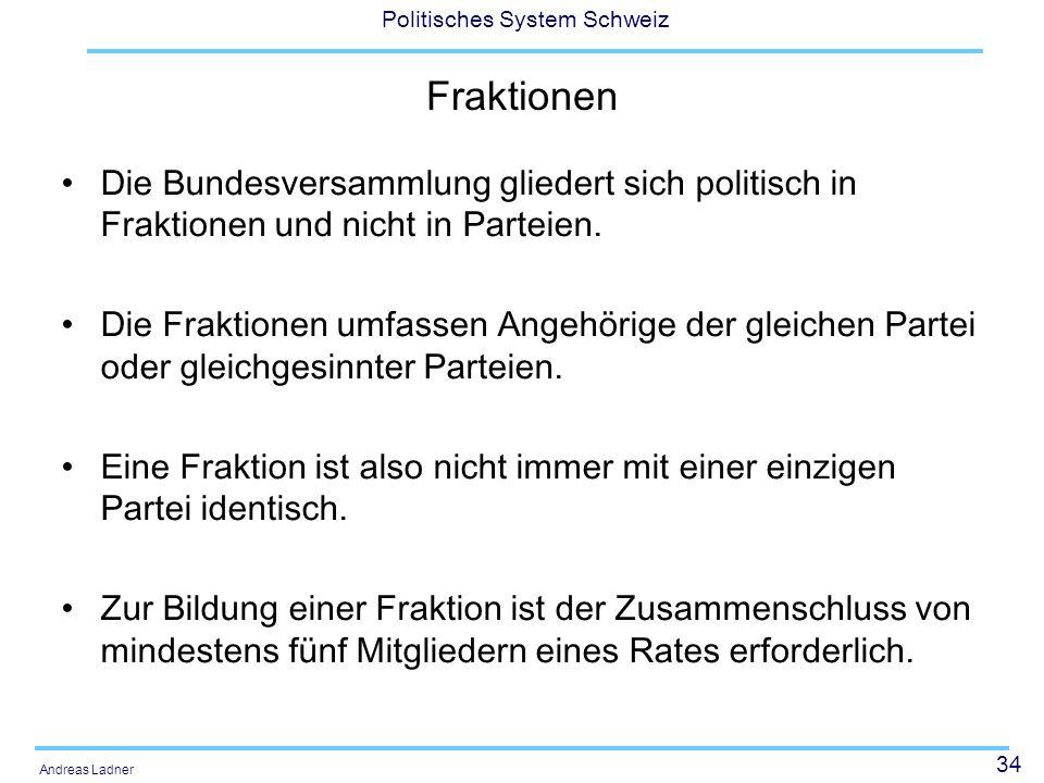 34 Politisches System Schweiz Andreas Ladner Fraktionen Die Bundesversammlung gliedert sich politisch in Fraktionen und nicht in Parteien. Die Fraktio
