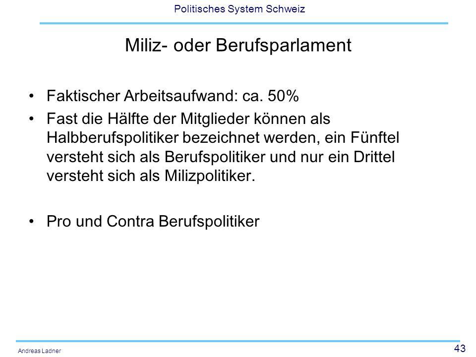 43 Politisches System Schweiz Andreas Ladner Miliz- oder Berufsparlament Faktischer Arbeitsaufwand: ca. 50% Fast die Hälfte der Mitglieder können als