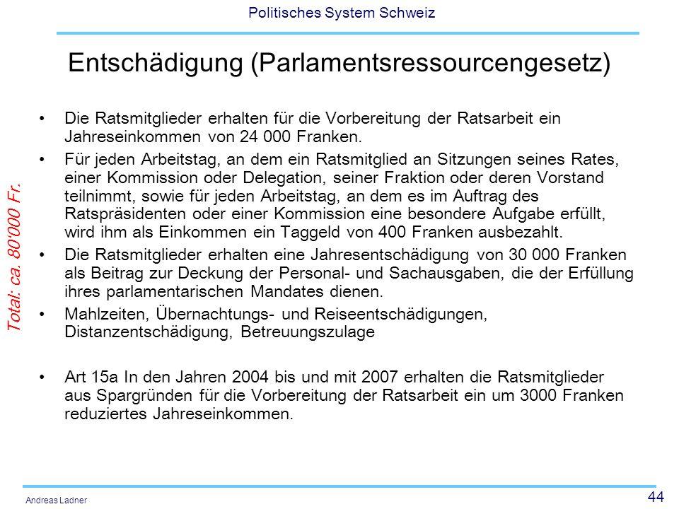 44 Politisches System Schweiz Andreas Ladner Entschädigung (Parlamentsressourcengesetz) Die Ratsmitglieder erhalten für die Vorbereitung der Ratsarbei