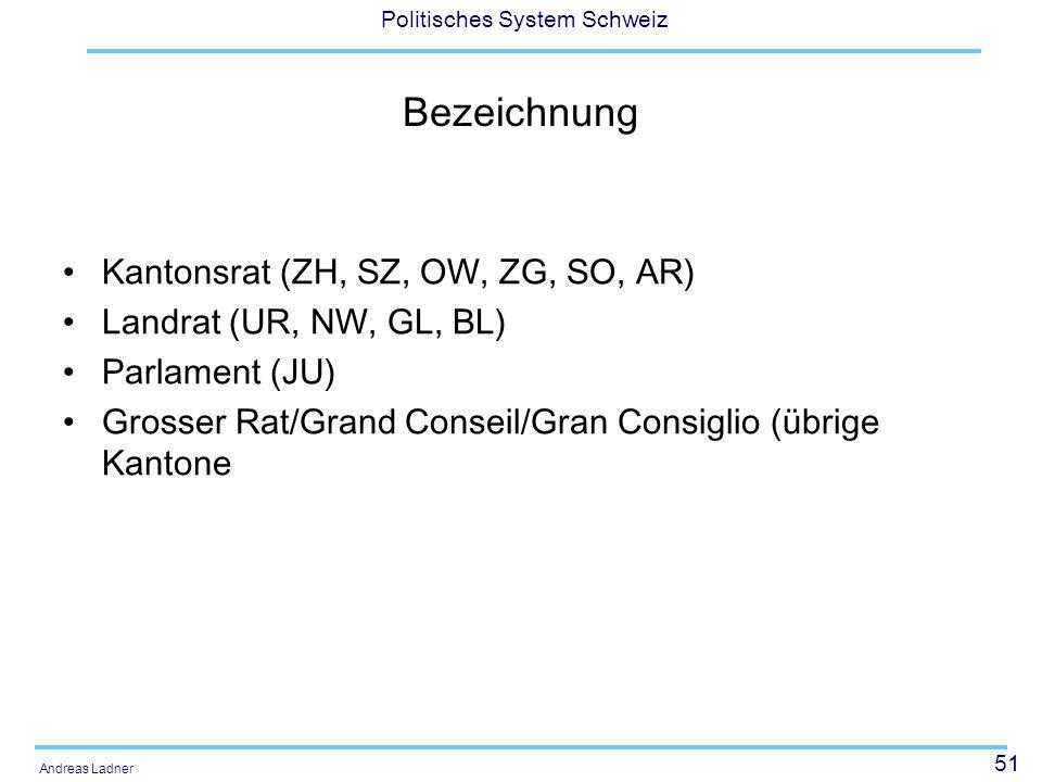 51 Politisches System Schweiz Andreas Ladner Bezeichnung Kantonsrat (ZH, SZ, OW, ZG, SO, AR) Landrat (UR, NW, GL, BL) Parlament (JU) Grosser Rat/Grand